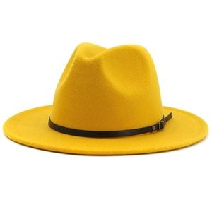 Accessories - Yellow Belted Fedora Hat